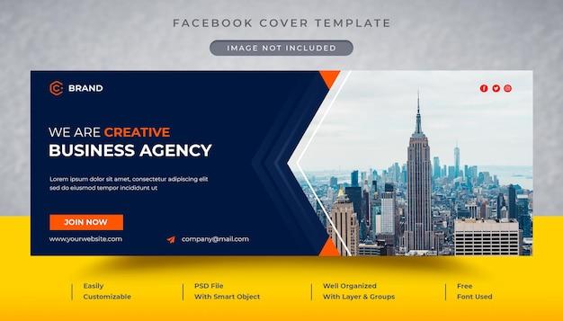 Modello di copertina facebook e banner web dell'agenzia di affari creativa