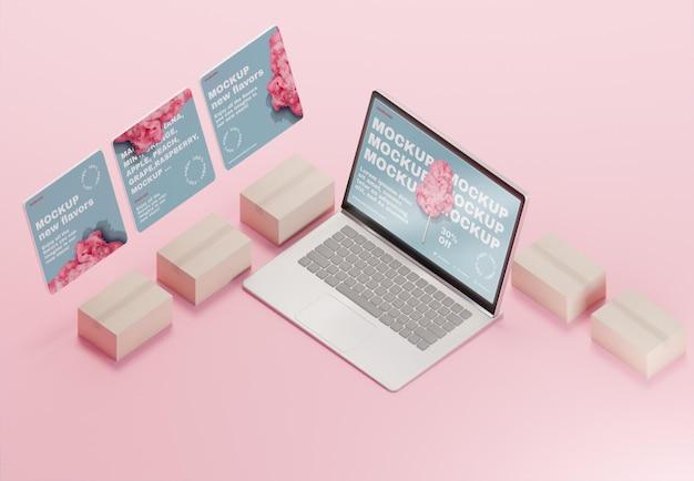 Assortimento aziendale creativo con mock-up di laptop