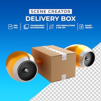 Scatola di consegna veloce 3d di concetto creativo isolata