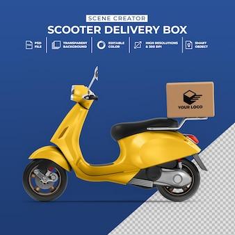 Concetto creativo 3d rendering di consegna scooter bici con scatola mockup