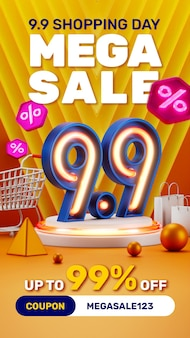 Concetto creativo 9 9 giorni di shopping 3d luce al neon podio prodotto display social media instagram