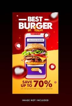 Modello di storia di instagram di social media di cibo di hamburger di concetto creativo