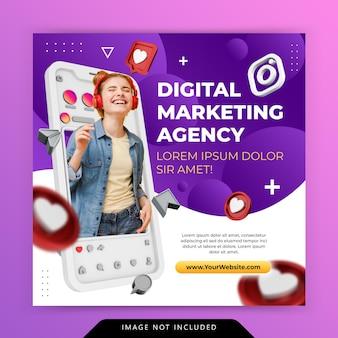 Modello di promozione di instagram di social media di agenzia di marketing digitale di concetto creativo