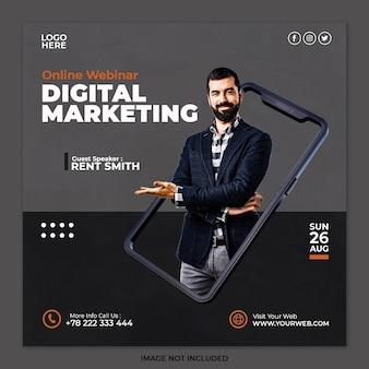 Concetto creativo agenzia di marketing digitale e modello di post sui social media