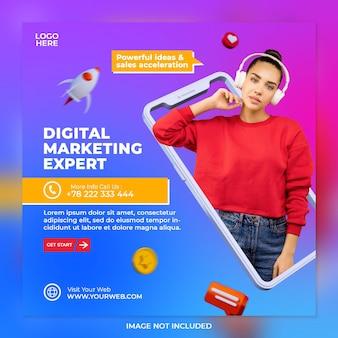 Concetto creativo esperto di marketing digitale e modello di post sui social media