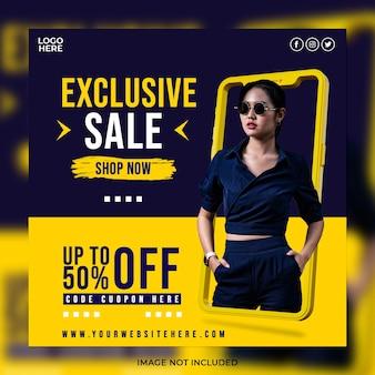 Concetto creativo vendita di moda esclusiva e modello di post sui social media