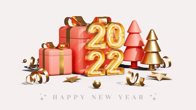 Concetto creativo felice anno nuovo 2022 con illustrazioni di rendering 3d