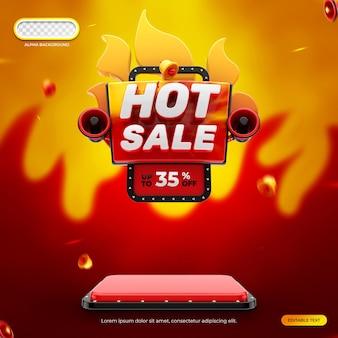 Rendering 3d dell'insegna di vendita calda di concetto creativo