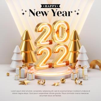 Concetto creativo instagram feed social media post felice anno nuovo 2022 con illustrazioni di rendering 3d