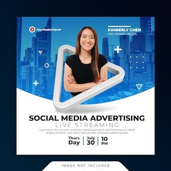 Concetto creativo workshop di live streaming post modello di promozione marketing sui social media