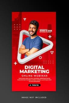 Modello di instagram di social media per il workshop di live streaming di concetto creativo