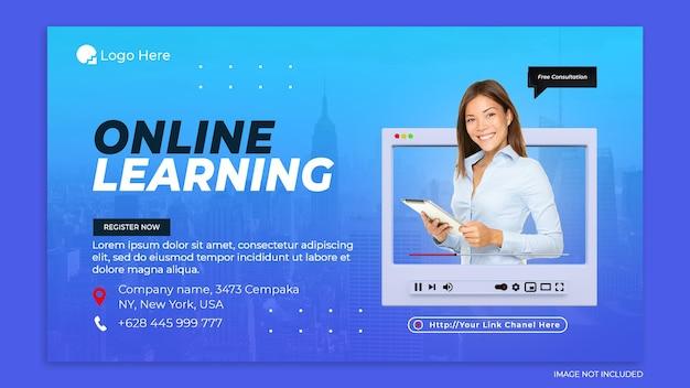 Concetto creativo di apprendimento online e modello di post sui social media