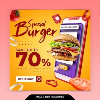 Modello di banner di social media di promozione del menu di hamburger di ordine online di concetto creativo
