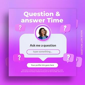 Tempo di domande e risposte del concetto creativo per il modello di instagram post sui social media