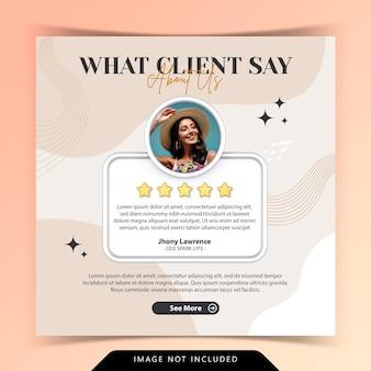 Concetto creativo per feedback soddisfatto testimonianza cliente social media post instagram template