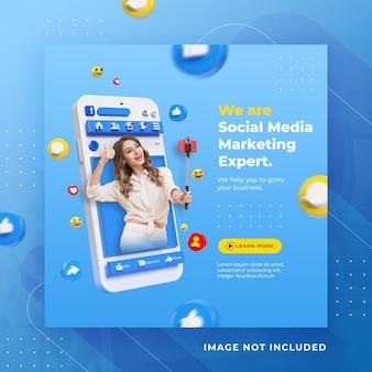 Post di facebook di social media di concetto creativo per modello di promozione del marketing digitale