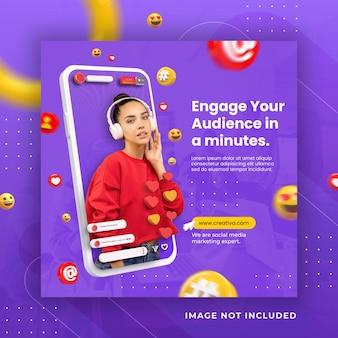 Instagram di social media di concetto creativo dal vivo per modello di promozione del marketing digitale