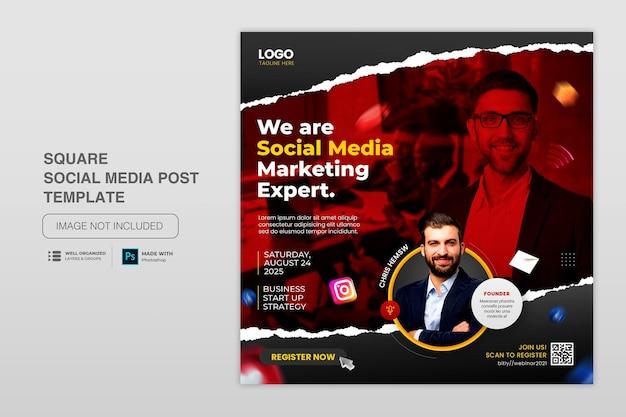 Post di instagram di social media di concetto creativo per modello di promozione del marketing digitale