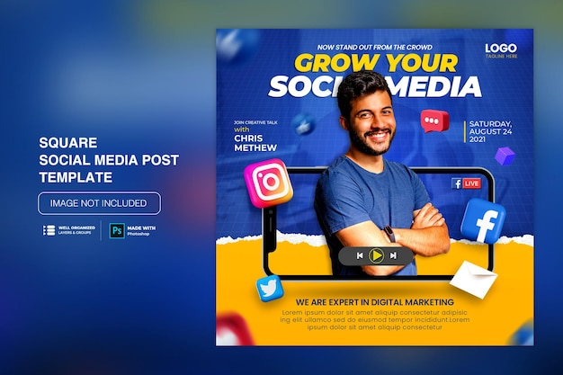 Post di instagram di social media di concetto creativo per modello di promozione del marketing digitale