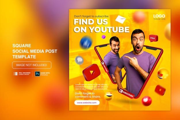 Promozione del canale youtube dei social media di concetto creativo per il modello di post di instagram