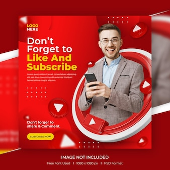 Modello di post di promozione del canale youtube dei social media di concept creativo