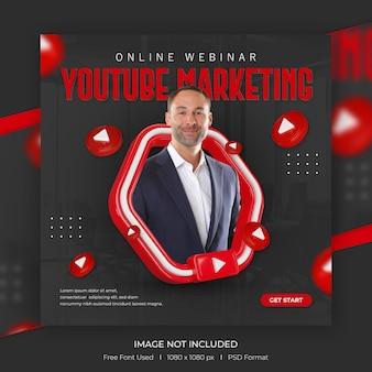 Concetto creativo post di promozione del canale youtube dei social media con modello 3d