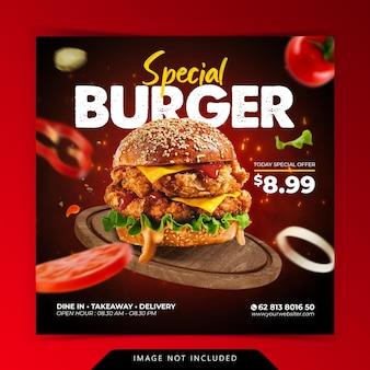 Menu di hamburger speciale di concetto creativo sul modello di banner di social media di promozione del vassoio