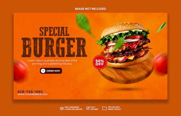 Menu speciale dell'hamburger di concetto creativo sul modello dell'insegna di media sociali di promozione di legno