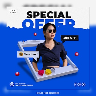 Concetto creativo vendita speciale e modello di post sui social media