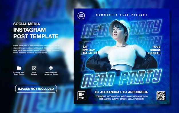 Modello di post di instagram di promozione di feste al neon creative dj