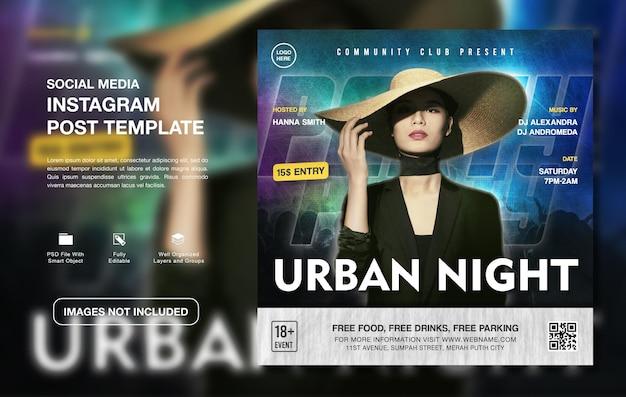 Modello di post di instagram per la promozione di feste creative dj