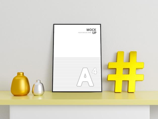 Mockup di volantini e poster creativi con hashtag dorato