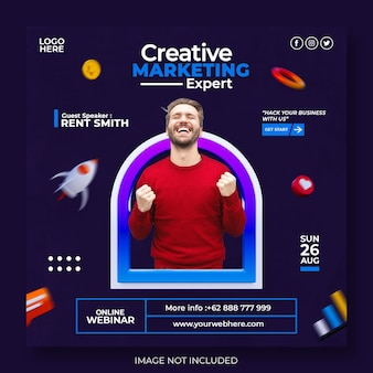 Agenzia di marketing creativo e modello di post sui social media aziendali