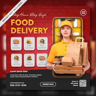 Modello di post di instagram per la promozione della consegna di cibo online creativo