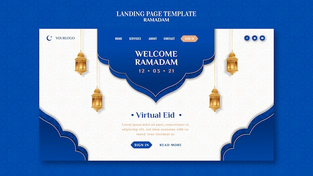 Modello di pagina di destinazione creativa del ramadan