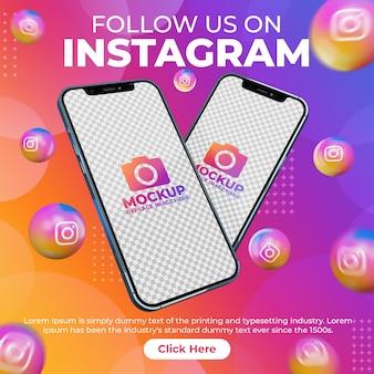 Post di instagram sui social media creativi con mobile phone mockup per la promozione del marketing digitale
