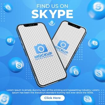 Social media creativo post skype con mobile phone mockup per la promozione del marketing digitale