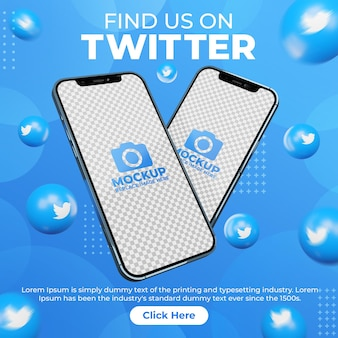 Post di twitter sui social media creativi con mobile phone mockup per la promozione del marketing digitale