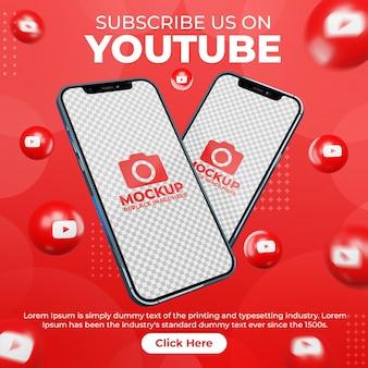 Post di youtube sui social media creativi con mobile phone mockup per la promozione del marketing digitale