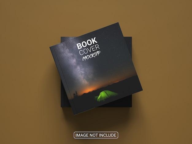 Mockup di libro con copertina rigida quadrato creativo