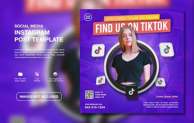 Modello di post instagram per la promozione del canale tiktok creativo