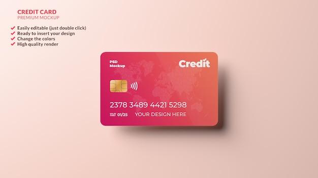 Mockup di progettazione di carta di credito fluttuante nel rendering 3d realistico
