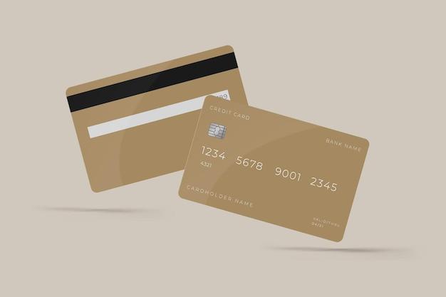 Modello di mockup con vista anteriore e posteriore della carta di credito per il marchio aziendale di presentazione