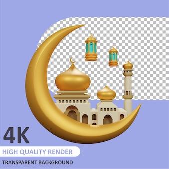 Falce di luna con moschea e luci rendering 3d della modellazione dei personaggi