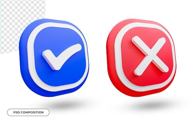 Icona del segno di spunta e croce impostata nel rendering 3d