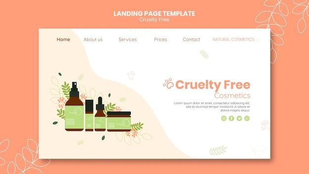 Modello di pagina di destinazione dei prodotti cruelty free