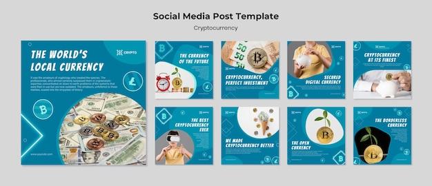 Modello di post sui social media di criptovaluta