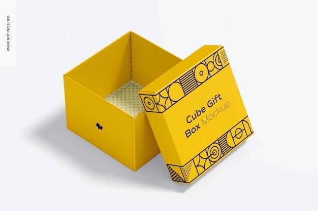 Mockup di scatola regalo cubo, aperto