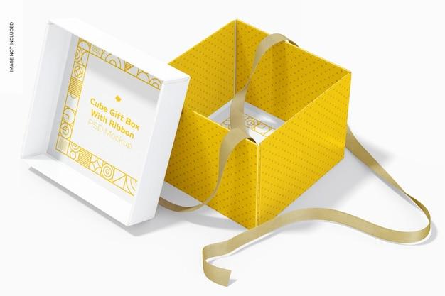Confezione regalo cubo con nastro mockup, vista interna