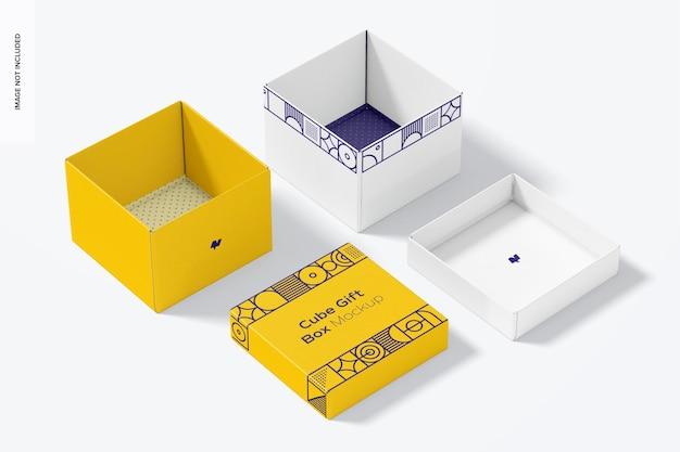 Mockup di scatole regalo cubo